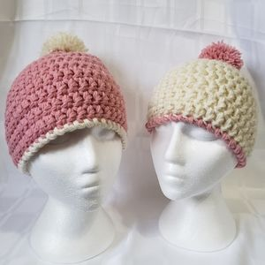 Accessories - Mommy & Daughter Crochet Hat set with Pom Poms
